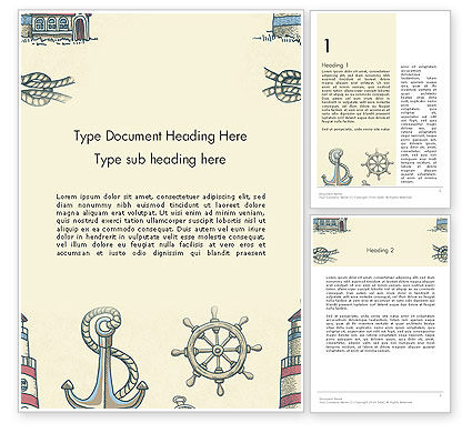 Careers/Industry: Nautical Vintage Word Template #13691