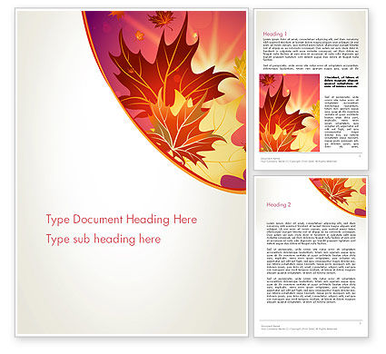 Autumn Leaves and Glow Word Template, 13699, Nature & Environment — PoweredTemplate.com