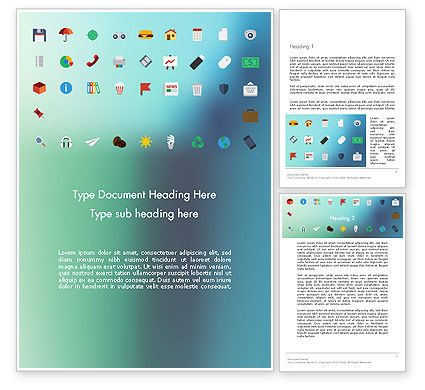 Color Flat Icons Word Template, 13717, Business Concepts — PoweredTemplate.com
