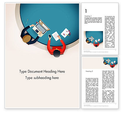 Meeting Top View Flat Design Word Template, 13718, Business Concepts — PoweredTemplate.com