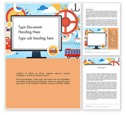 Vacation Background Word Template, 13723, Holiday/Special Occasion — PoweredTemplate.com