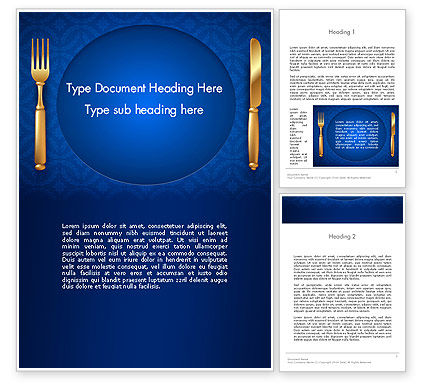 Gold Fork and Knife on Blue Cloth Word Template