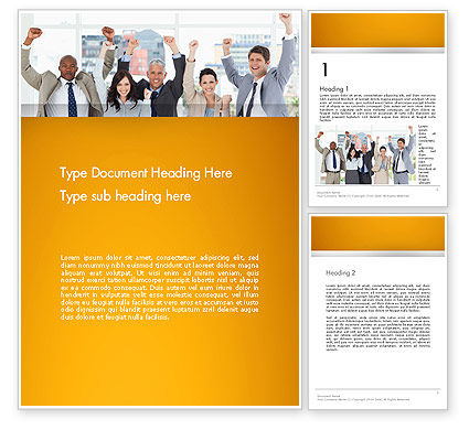 Rejoicing Business People Word Template, 13735, People — PoweredTemplate.com