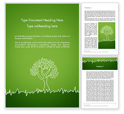 Green Tree and Grass Illustration Word Template