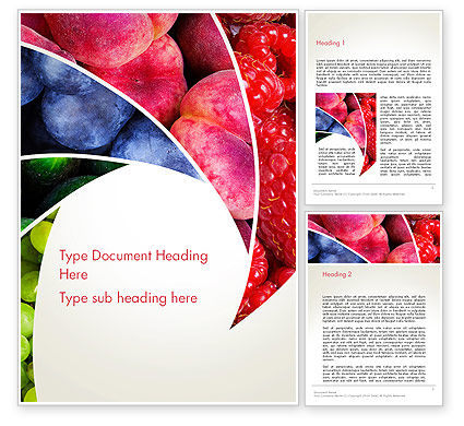 Fruits Swirl Word Template, 13743, Food & Beverage — PoweredTemplate.com