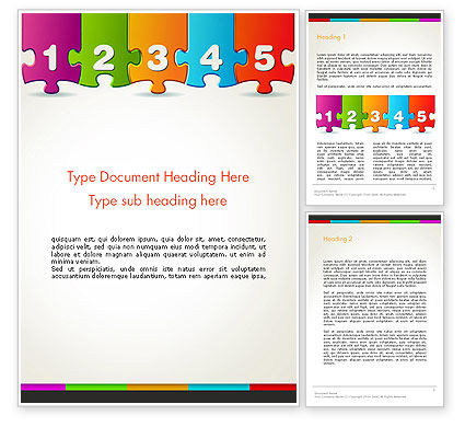 Jigsaw Puzzle Piece with Numbers Word Template, 13755, Business Concepts — PoweredTemplate.com