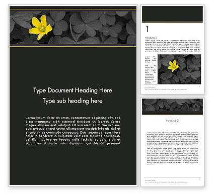 Yellow Flower on Gray Leaves Word Template, 13760, Nature & Environment — PoweredTemplate.com