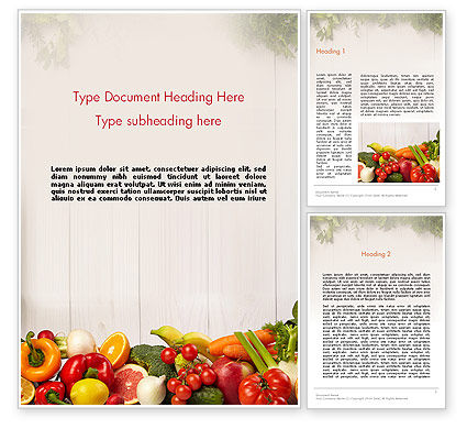 Fruits and Vegetables Word Template, 13782, Agriculture and Animals — PoweredTemplate.com