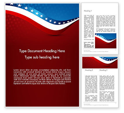 America: USA Patriotic Themed Word Template #13784