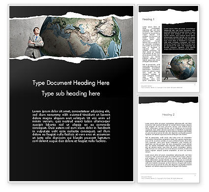 Global: Dreaming Businessman Standing Near Globe Word Template #13794