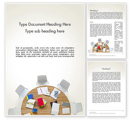 Business: Meeting Table Top View Word Template #13807