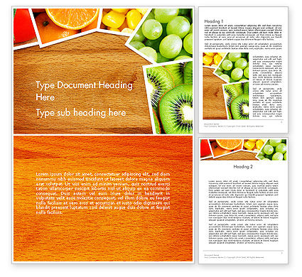 Fruits Collage Word Template, 13811, Food & Beverage — PoweredTemplate.com