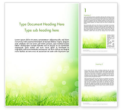 Nature & Environment: Grass On The Sunshine Rays Word Template #13817