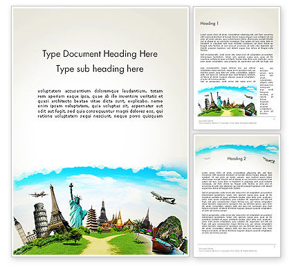 Travel The World Word Template, 13846, Careers/Industry — PoweredTemplate.com