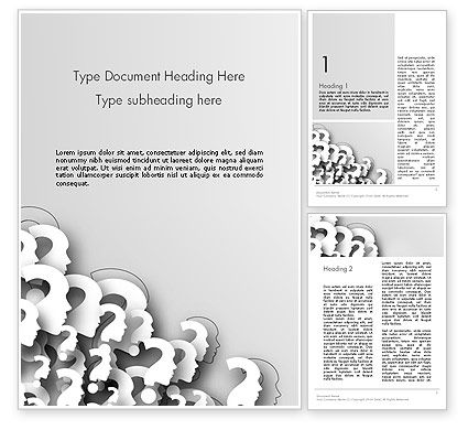 Faces With Question Marks Word Template, 13848, Business Concepts — PoweredTemplate.com