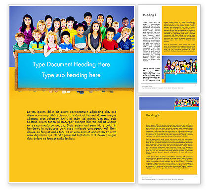 Education & Training: Diverse Preschool Children Word Template #13859