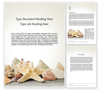 Agriculture and Animals: Starfish with Shells Word Template #13860