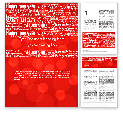 Happy New Year Wishes in Different Languages Word Template, 13877, Holiday/Special Occasion — PoweredTemplate.com