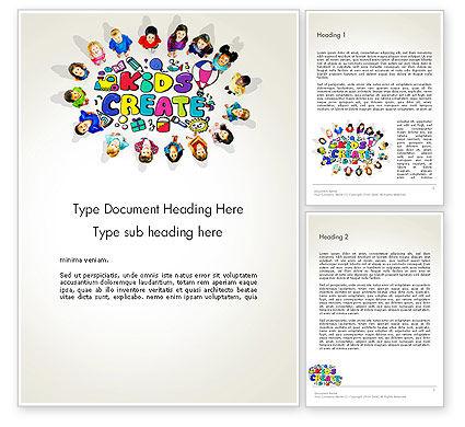 Hello Kindergarten Word Template, 13883, Education & Training — PoweredTemplate.com
