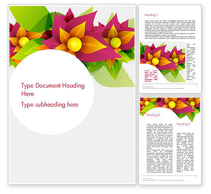 Abstract Flower Word Template