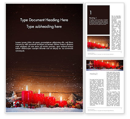 Christmas Candlelight Word Template, 13892, Holiday/Special Occasion — PoweredTemplate.com