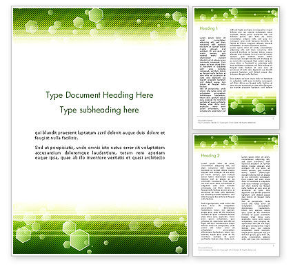 Abstract/Textures: Tech Green Background with Hexagons Word Template #13893