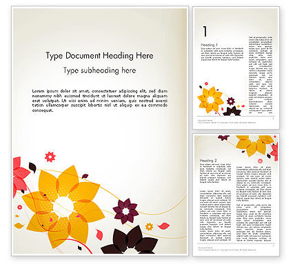 Colored Flowers in Flat Design Word Template, 13894, Nature & Environment — PoweredTemplate.com