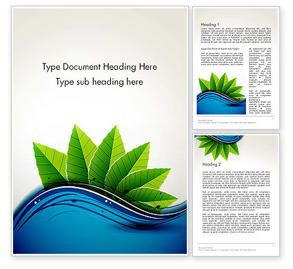 Nature & Environment: River and Green Leaves Word Template #13901