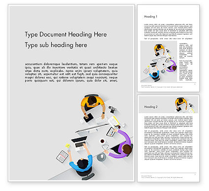 Business: Business People Working at Desk Top View Word Template #13906