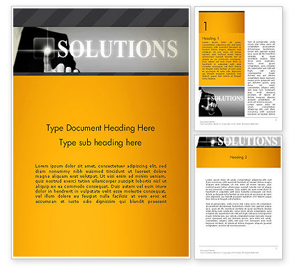 Press The Solution Key Word Template, 13907, Business Concepts — PoweredTemplate.com