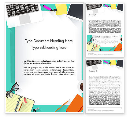 Office Desktop Workspace Word Template, 13928, Business — PoweredTemplate.com