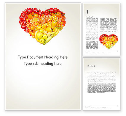 Fruits and Vegetable Heart Word Template, 13930, Agriculture and Animals — PoweredTemplate.com