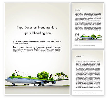 Travel by Airplane Word Template, 13936, Cars/Transportation — PoweredTemplate.com
