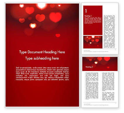 Hearts Love Theme Word Template, 13949, Holiday/Special Occasion — PoweredTemplate.com