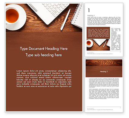 Business Concepts: Top View on Wooden Desk Word Template #13954
