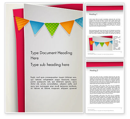 Paper Birthday Banner Word Template, 13958, Holiday/Special Occasion — PoweredTemplate.com