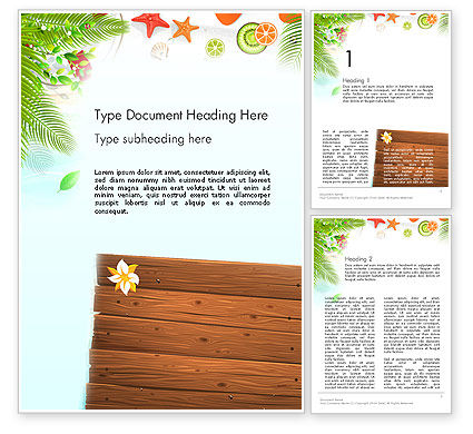 Tropical Holidays Word Template, 13962, Holiday/Special Occasion — PoweredTemplate.com