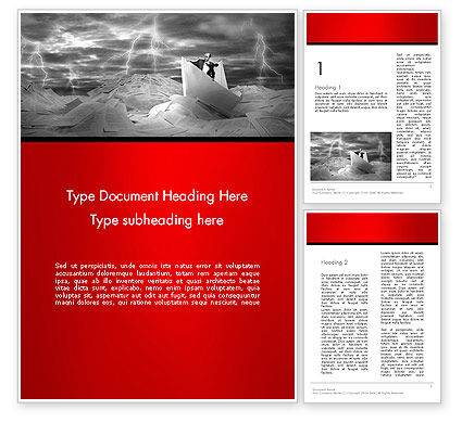 Business Concepts: Lost Alone Businessman Sailing in Stormy Papers Sea Word Template #13966