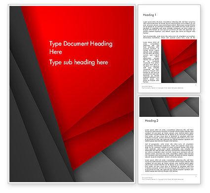 Abstract/Textures: 워드 템플릿 - 접힌 된 빨간색과 회색 레이어 추상 #13971