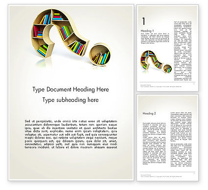 Question Mark With Books Word Template, 13974, Education & Training — PoweredTemplate.com