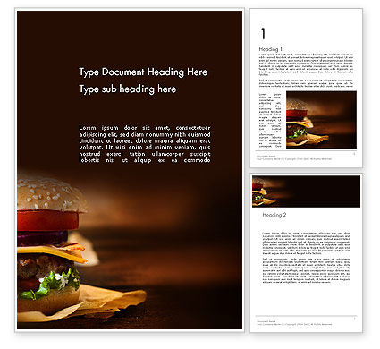 Gourmet Burger Word Template, 13981, Food & Beverage — PoweredTemplate.com