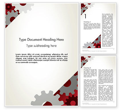 Cogwheels Gear Illustration Word Template, 13996, Utilities/Industrial — PoweredTemplate.com