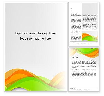 Abstract/Textures: Grüne und orange kurven Word Vorlage #13998