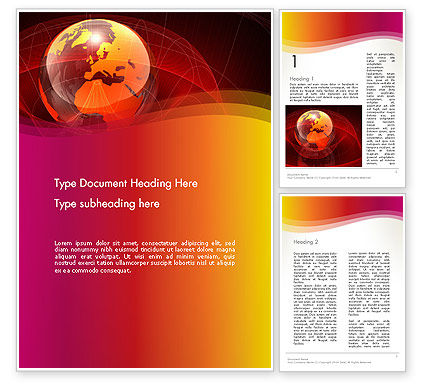 Red Globe Theme Word Template, 14042, Global — PoweredTemplate.com