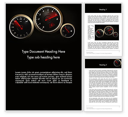 Cars/Transportation: Car Dashboard Design Word Template #14048