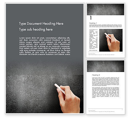 Education & Training: Female Hand Writing by White Chalk on Blackboard Word Template #14063