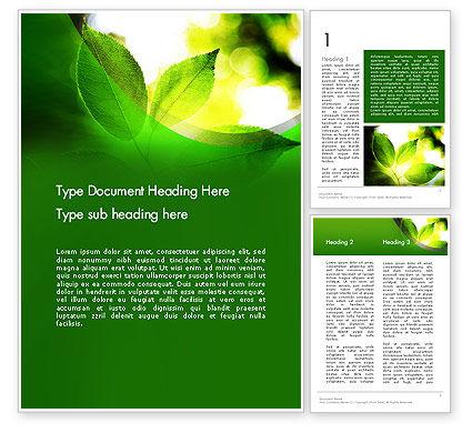Translucent Green Leaf Word Template, 14108, Nature & Environment — PoweredTemplate.com