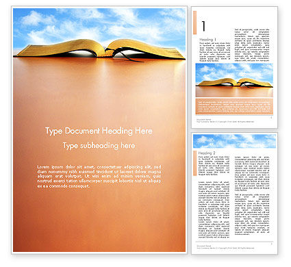Open Book Word Template, 14109, Education & Training — PoweredTemplate.com