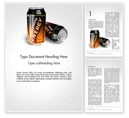 Food & Beverage: Energy Drink Word Template #14116