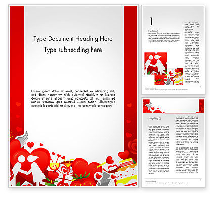 Love Border Frame Word Template, 14117, Holiday/Special Occasion — PoweredTemplate.com